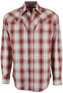 Stetson Red Fire Ombre Plaid Snap Shirt - Front