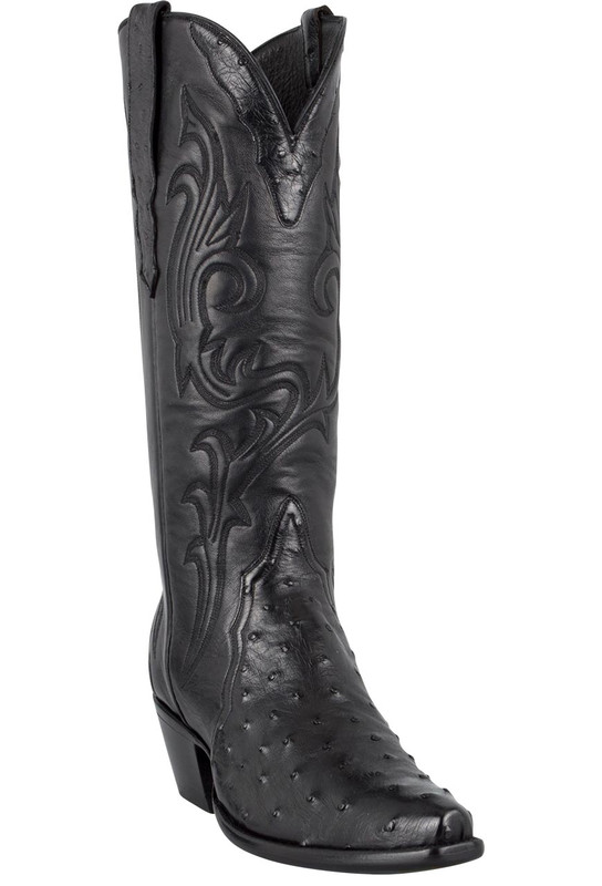 Stallion Women's Black Full-Quill Ostrich Triad Boots - Hero
