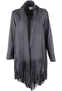 Joh Faux Suede Oversized Fringe Cardigan - Front