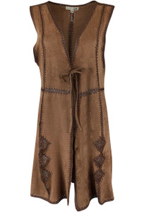 Joh Faux Suede and Crochet Vest - Front