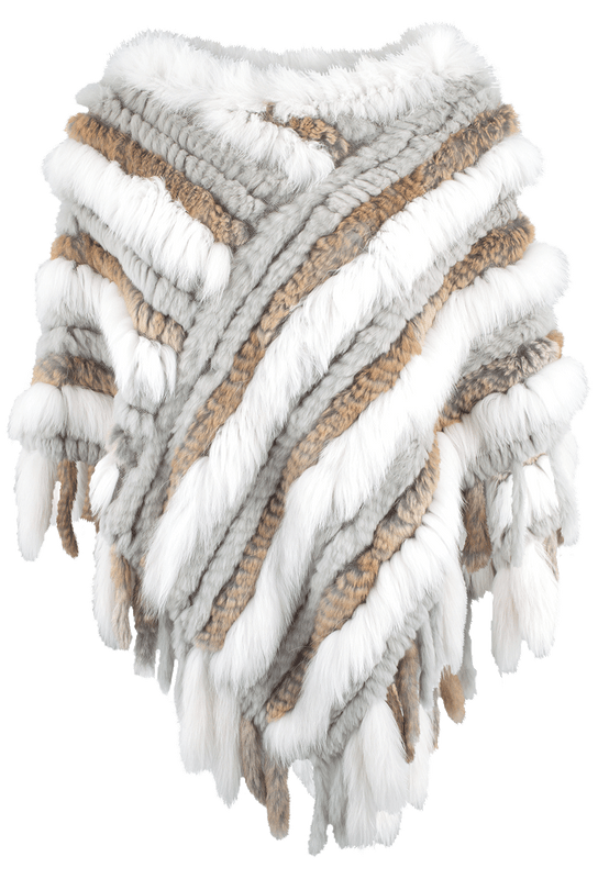 Metric Rabbit Fox Fur Poncho - Front
