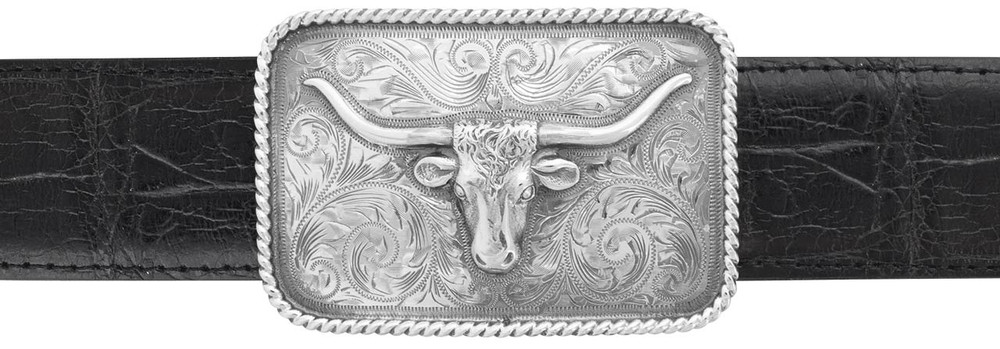 "Sunset Trails Longhorn Rope Edge 1 1/2"" Trophy Buckle"
