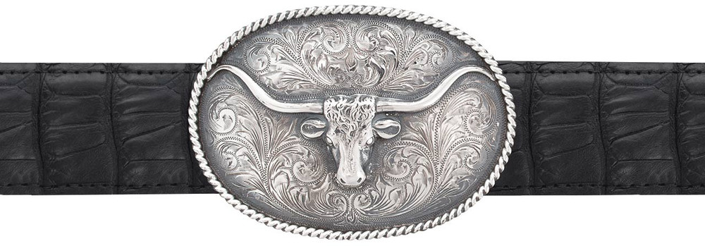 "Sunset Trails Longhorn Oval Rope Edge 1 1/2"" Trophy Buckle"