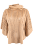 Alberto Makali Faux Suede Laser Cut Poncho Top - Camel - Front