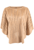 Alberto Makali Faux Suede Laser Cut Poncho Top - Camel - Front - Alternate