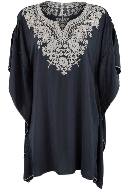 Monoreno Flutter Embroidered Poncho Top - Front