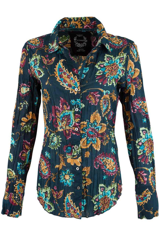 Cino Navy Paisley Print Button Down Shirt - Front