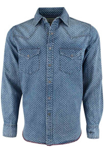 Ryan Michael Indigo Star Print Snap Shirt - Front