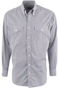 Pinto Ranch YY Collection Blue and Brown Graph Check Shirt - Front