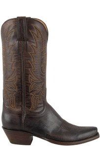 Lucchese Women's Chocolate Burnished Mad Dog Goat Boots - side