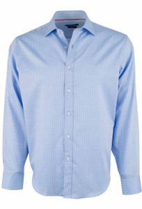Bugatchi Blue Micro Check Sport Shirt - Front