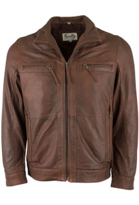 Scully Brown Lambskin Featherlite Jacket - Front