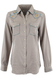 Ryan Michael Silk Cotton Western Snap Shirt - Front