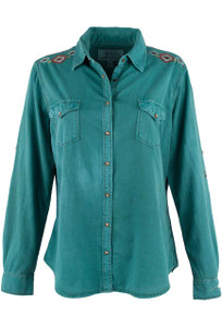 Ryan Michael Embroidered Split Back Snap Shirt - Peacock - Front