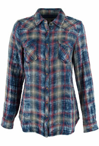 Ryan Michael Indigo Cloud Plaid Snap Shirt - Front