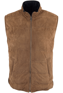 Stetson Lamb Suede Vest - Saddle Brown - Front