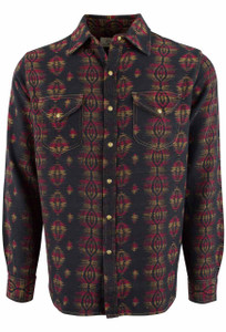 Ryan Michael Sunburst Jacquard Snap Shirt - Front