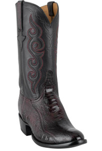 Lucchese Men's Black Cherry Ostrich Leg Boots - Hero