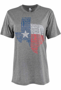 Gift - Texas Cities Tee - Gray - Front