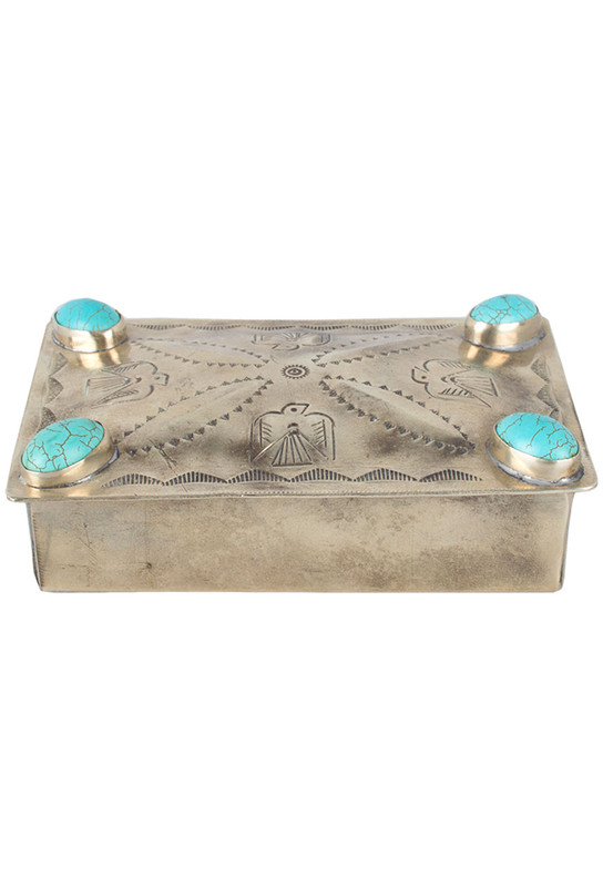 Home - Silver Stamped Repousse Box with Turquoise