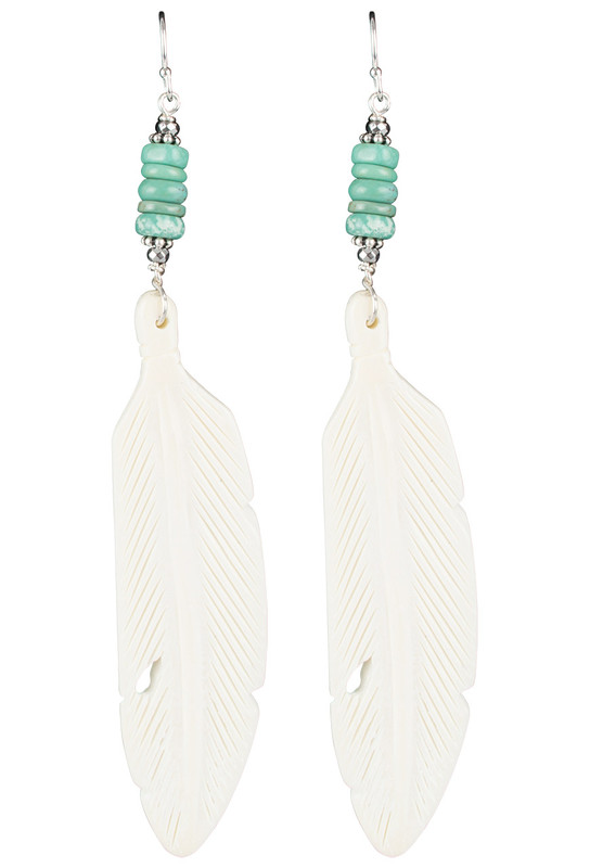 Breathe Deep Designs Turquoise and Sterling Silver Bone Earrings