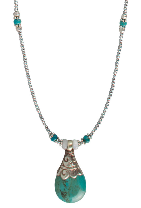Breathe Deep Designs Long Hematite and Turquoise Drop Necklace- Thumb