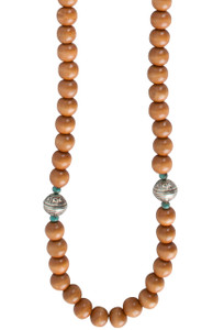 Ticklebutton Jewels Long Wood, Turquoise and Sterling Silver Beaded Necklace - Thumb