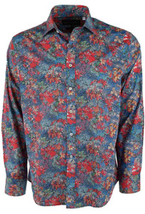 David Smith Australia Denim Webb Watercolor Floral Print Shirt  - Front