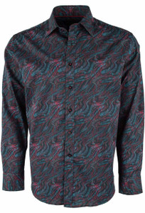 David Smith Australia Teal Panama Print Shirt - Front