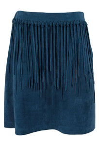 Joh Faux Suede Short Fringe Whipstitch Skirt