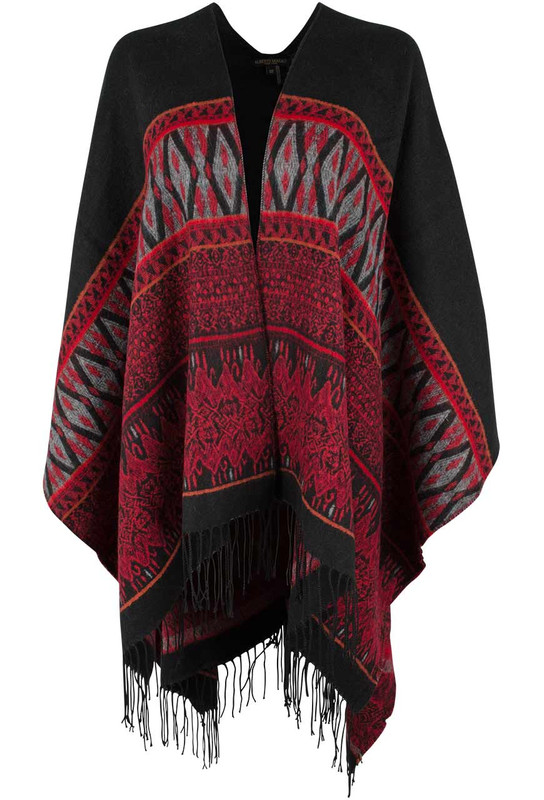 Alberto Makali Red and Black Shawl - Front