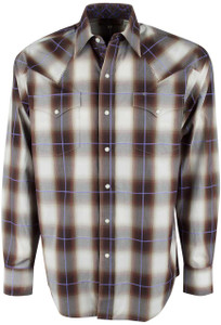 Stetson Brown Teak Ombre Plaid Snap Shirt - Front