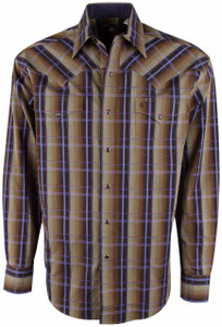 Stetson Brown Earth Ombre Plaid Snap Shirt - Front