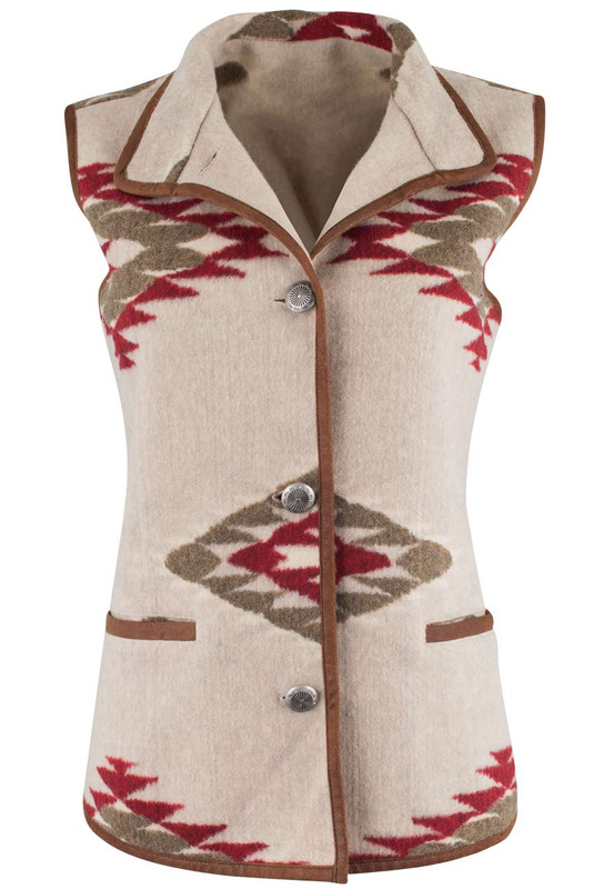 Du Monde Single Breasted Faux Wool Vest - Front