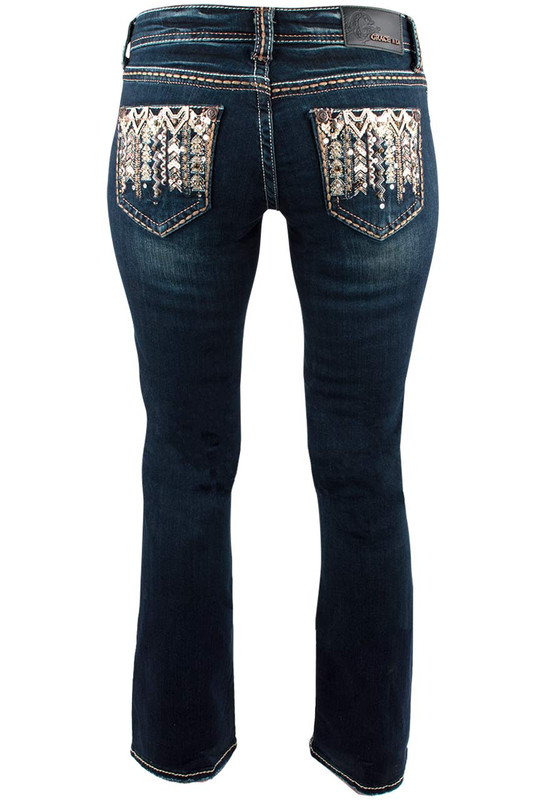 Grace in L.A. Junior Copper Embroidery Bootcut Jeans - Back