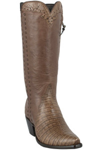 Stallion Women's Taupe Caiman Crocodile Triad Boots - Hero