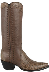 Stallion Women's Taupe Caiman Crocodile Triad Boots - Side