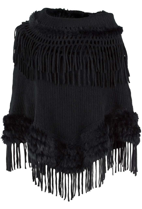 Alberto Makali Fur Poncho with Fringe Scarf - Front - Black