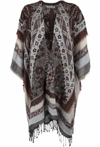 Paparazzi Kimono Shawl with Fringe - Brown - Front