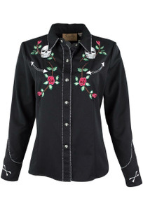 Scully Women's Skull and Roses Snap Shirt - Front