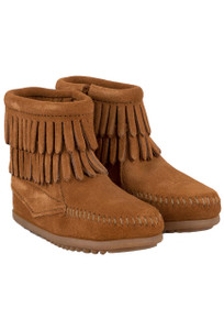 Infant - Minnetonka Double Fringe Brown Booties