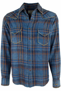 Ryan Michael Exploded Plaid Shirt - Indigo - Front