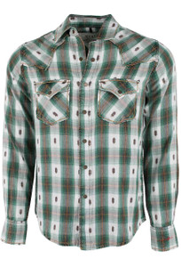 Ryan Michael Brushed Ombre Plaid Shirt - Evergreen - Front