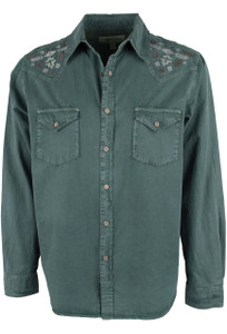 Ryan Michael Silk Gabardine Snap Shirt - Evergreen - Front