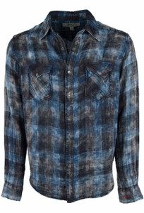 Ryan Michael Double Face Plaid Shirt - Indigo - Front