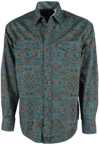 Stetson Green Medallion Paisley Snap Shirt - Front