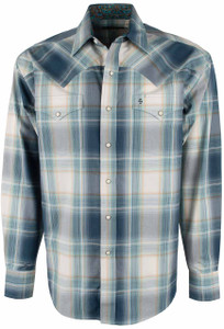 Stetson Blue Slate Plaid Snap Shirt - Front
