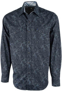 Stetson Blue Spotted Paisley Snap Shirt - Front