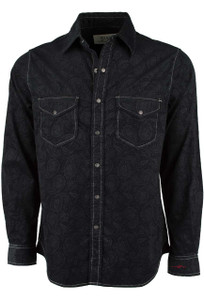 Ryan Michael Embossed Paisley Jacquard Snap Shirt - Black - Front