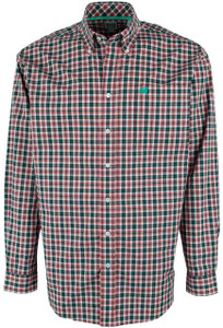 Cinch Red, Green and White Plaid Shirt - Front